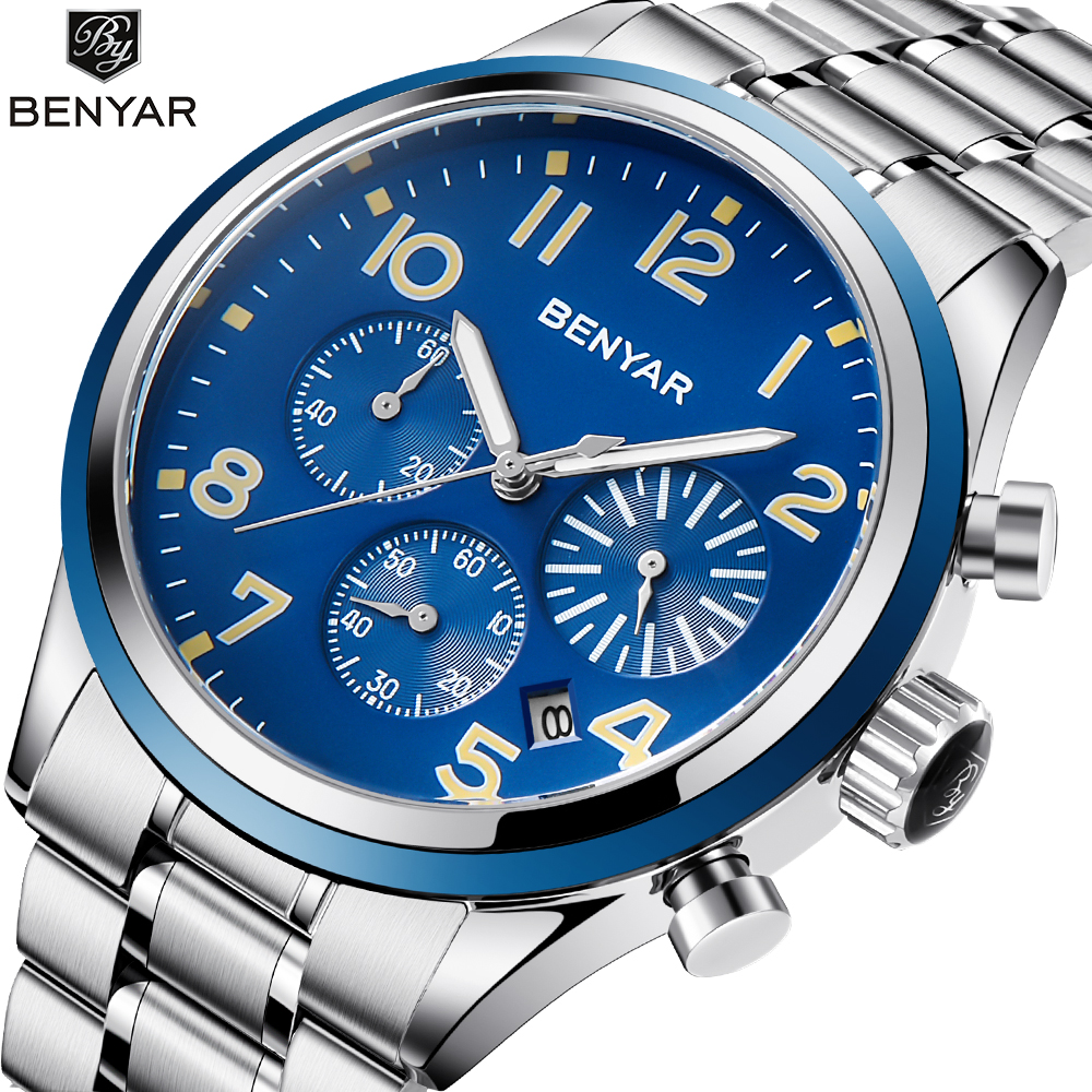 Top Brand Luxury New BENYAR Fashion Chronograph Sport Mens Watches Military Quartz Watch Clock Relogio Masculino Reloj Hombre reloj hombre 2017 benyar fashion chronograph sport mens watches top brand luxury military quartz watch clock relogio masculino