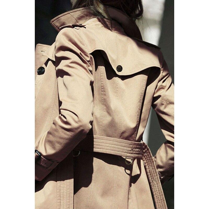 Designer Boutonnage Hf24 Manteau Mince Survêtement British Style Femmes Kaki Mi Vintage New Luxe Tranchée Longue Femelle Double Khaki Sur 2018 q5UC5PRw