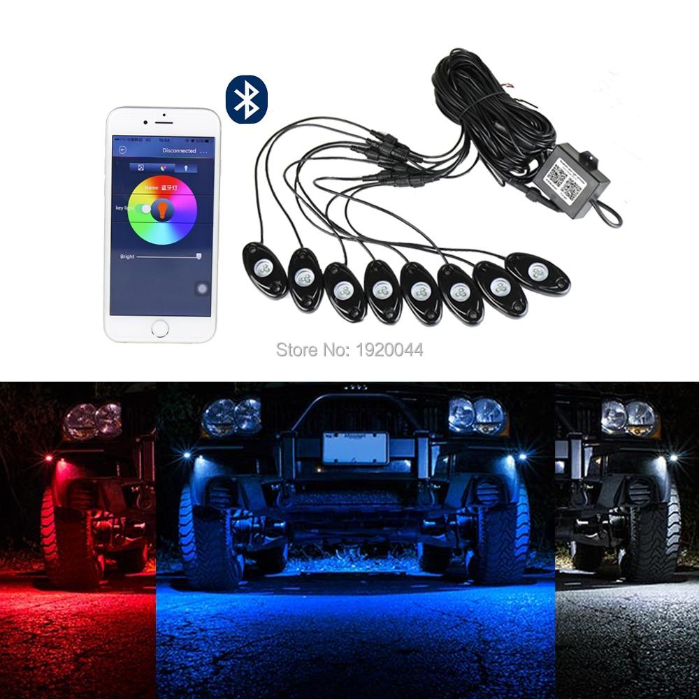 СЗГ-ЛРЛ-8 8шт Multi-цвета СИД RGB рок набор света 72w с контроллер Bluetooth светодиодные украшения свет для автомобилей грузовиков мотоциклов