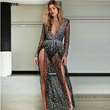 Xnxee 2018 Summer Beach Dress Women Black Lace Dress Long Sleeve V Neck Sequin Mesh See-through Ladies Maxi Long Dress Vestidos cuerly sexy see through burgundy lace dress women summer high waist v neck dress elegant maxi long dress vestidos