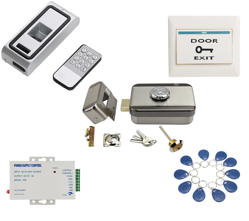Standalone Metal Case Door lock Biometric Fingerprint+RFID reader electric gate latch door lock kit gate Access Control systeM