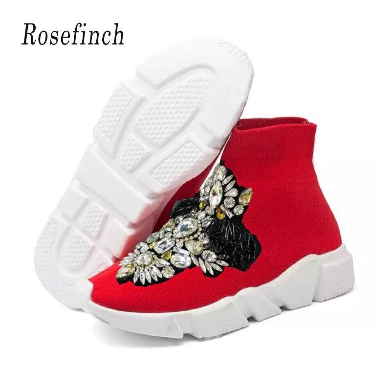 Luxury Crystal Sneakers Women Fashion Sneakers Rhinestones Stretch Sock Boots Sport Knit Sock Sneakers Red Casual Shoes WK106Luxury Crystal Sneakers Women Fashion Sneakers Rhinestones Stretch Sock Boots Sport Knit Sock Sneakers Red Casual Shoes WK106