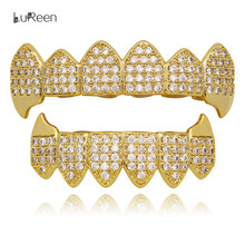 LuReen Hip Hop Gold Teeth Grillz Rhinestone Top&Bottom Grills Set Tooth Grillz Dental Vampire Teeth Caps Party Jewelry LD0123