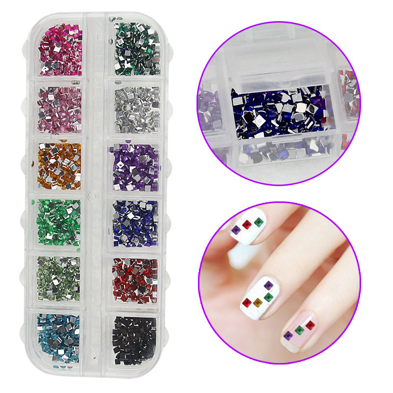 2400PCS Nail Art Crystal Rhinestone Resin 12 Colors Square 3D Decorations DIY Salon Express Manicure Tools YF2017 12 colors 3mm waterdrop rhinestone nail art salon stickers tips diy decorations with wheel chic design 5gpn