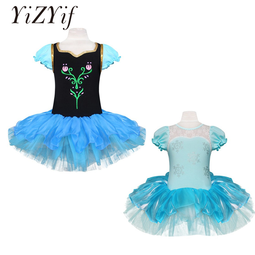 YiZYiF Girls Princess Dress Ballet Tutu Dress Anna Elsa Princess Cosplay Costumes For Girls Anime Cosplay Clothing Tutu Dress