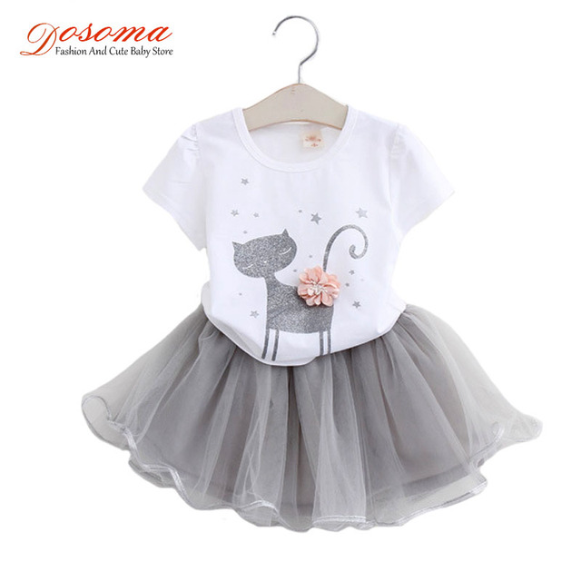 Girls Clothing Sets Summer Fashion Style Cartoon Kitty Printed Cotton T-Shirts + Veil TuTu Skirt Dresses 2Pcs Kids Clothes Girls