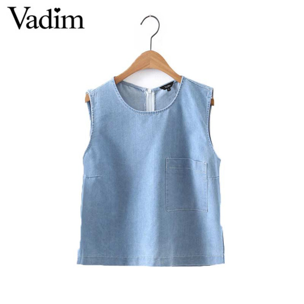 Popular Sleeveless Denim Top-Buy Cheap Sleeveless Denim Top lots ...