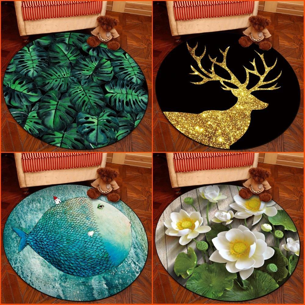3D Creative Flower Printing Round Carpets Door Mat Bedroom Living Room Tea Table Rugs Kitchen Bathroom Antiskid Mats