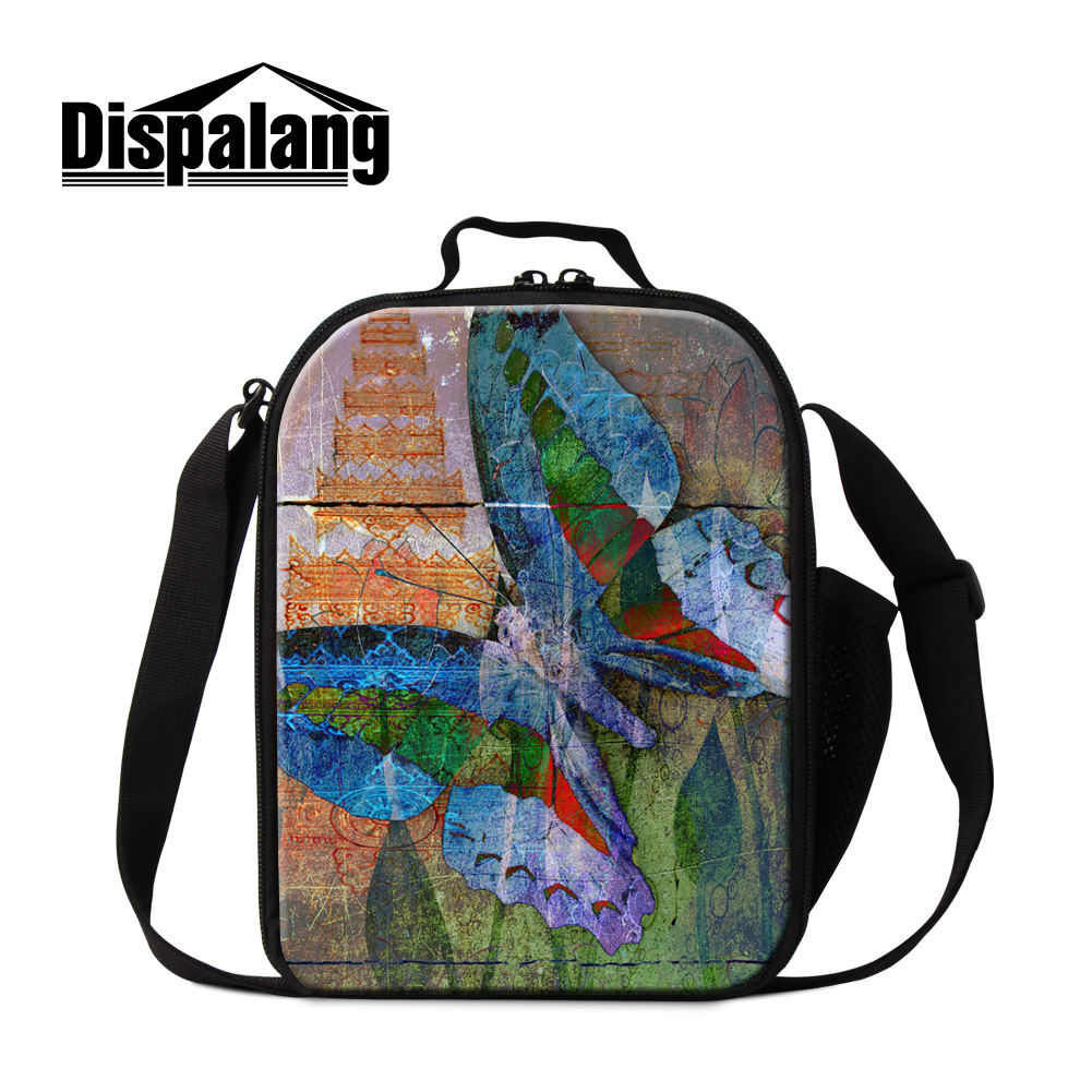 Dispalang cute colorful butterfly printing thermo lunch bag for girls women insulated cooler bags for working pack lunch box bag