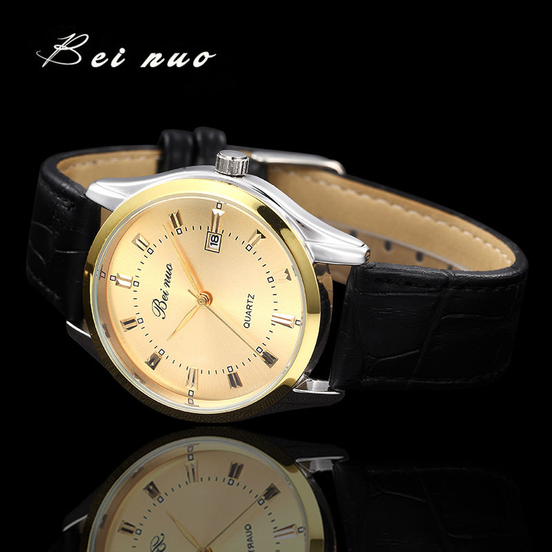Bei Nuo Mens Watches Top Brand Luxury Men Military Sport Luminous Wristwatch Chronograph Leather Quartz Watch Relogio Masculino