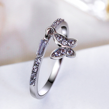 Lovely butterfly rings for women Cheap China wholesale lot anel feminino aneis bague zirconia crystal Fashion White Trendy ring