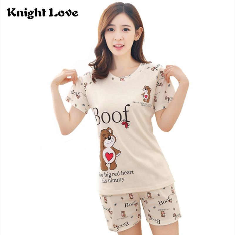New Thin Women Pajamas Set Summer Round Neck Ladies Cute Cartoon Printed Short Sleeve Sleepwear Homewear Female Pyjamas