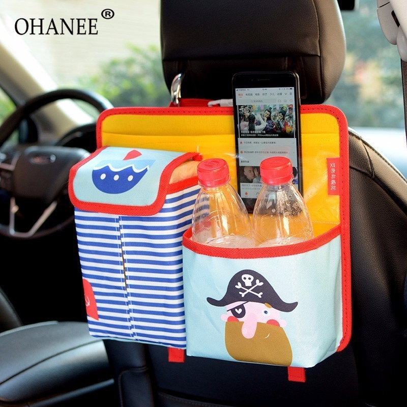OHANEE cartoon car seat back organizer with cup holder for kids women girl children kids cute lovely accessories