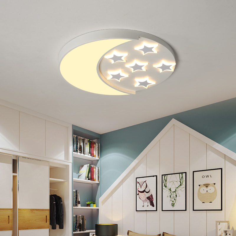 Chandelierrec Online AC85-265V Modern Kid's Room Led Ceiling chandeliers for baby bedroom star&moon creative cartoon chandeliers creative cartoon baby cute led act the role ofing boy room bedroom chandeliers children room roof plane light absorption