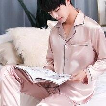 Атласные шелковые Для мужчин пижамный комплект Лето Для мужчин s пижамы  Loungewear Пижама Homme классический пижамы db04490c24eea