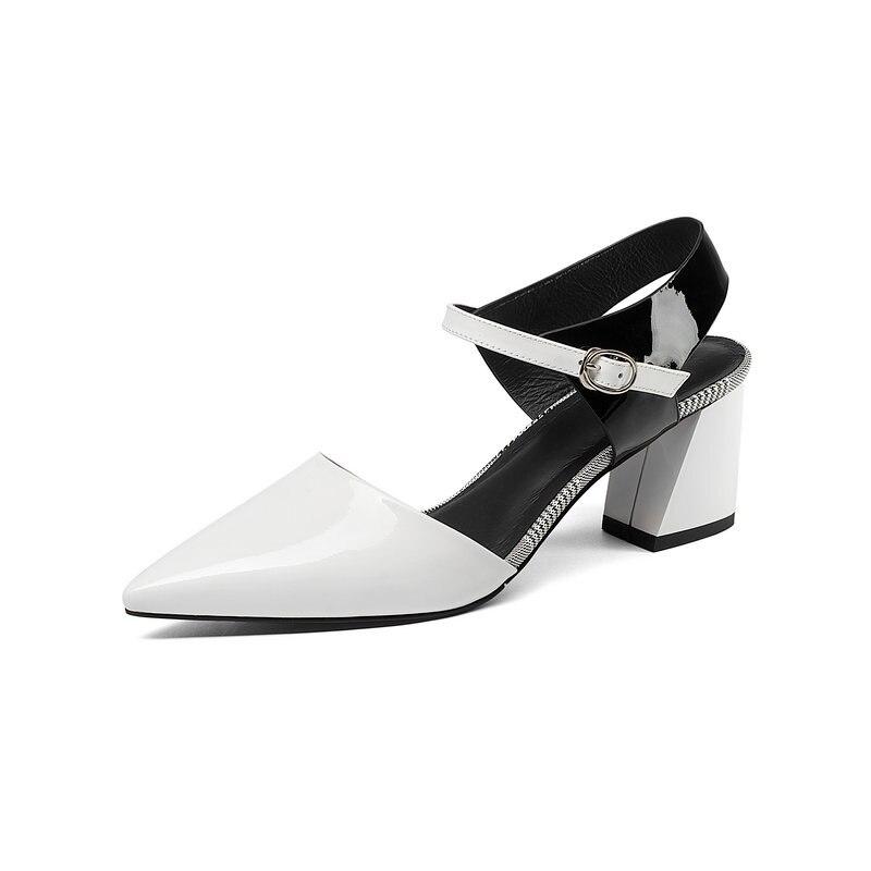 Noir À 2019 Bride Femmes En Série blanc vert Cuir Nemaone Chaussures Élégant Véritable Nouveau Mode Stiletto Pointu De Arrière RqCwCBOa