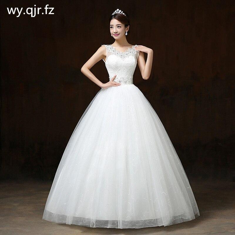 LYG H65 V neck Red White Lace Up Long Wedding Dress Bridal Marry Dresses long Ball