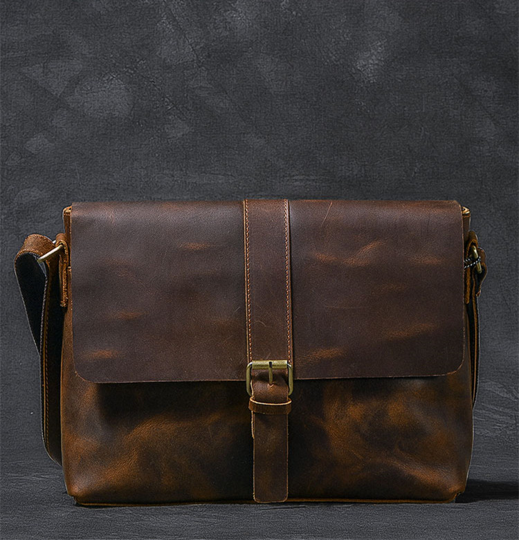 Luxury Leather Courier Bag front buckle