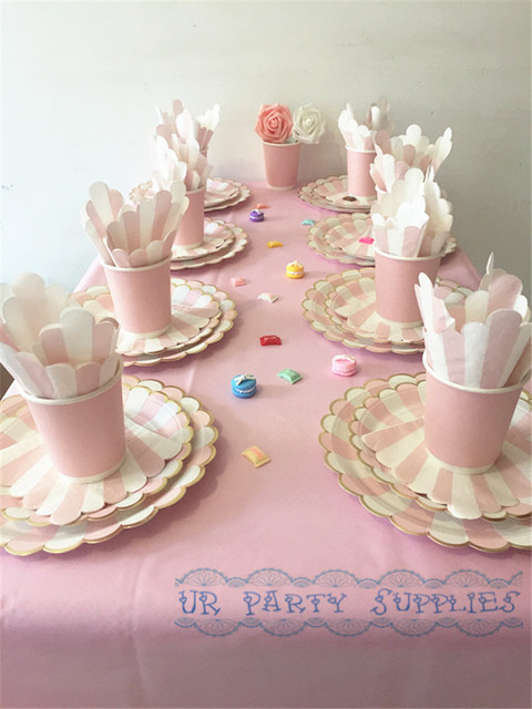 16 Sets Pink And Gold Party Tableware Set With Table Cover Paper Plates Cups Napkins Drinking