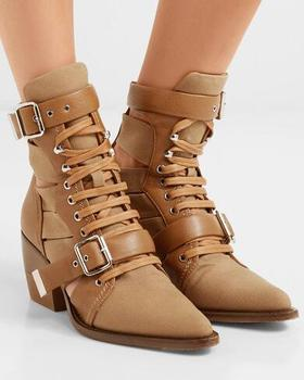 Drop Shipping Spring Women Khaki Pointed Toe Cutout Leather And Canvas Ankle Boots Med-heels Martin Short Boots Lady Size 42