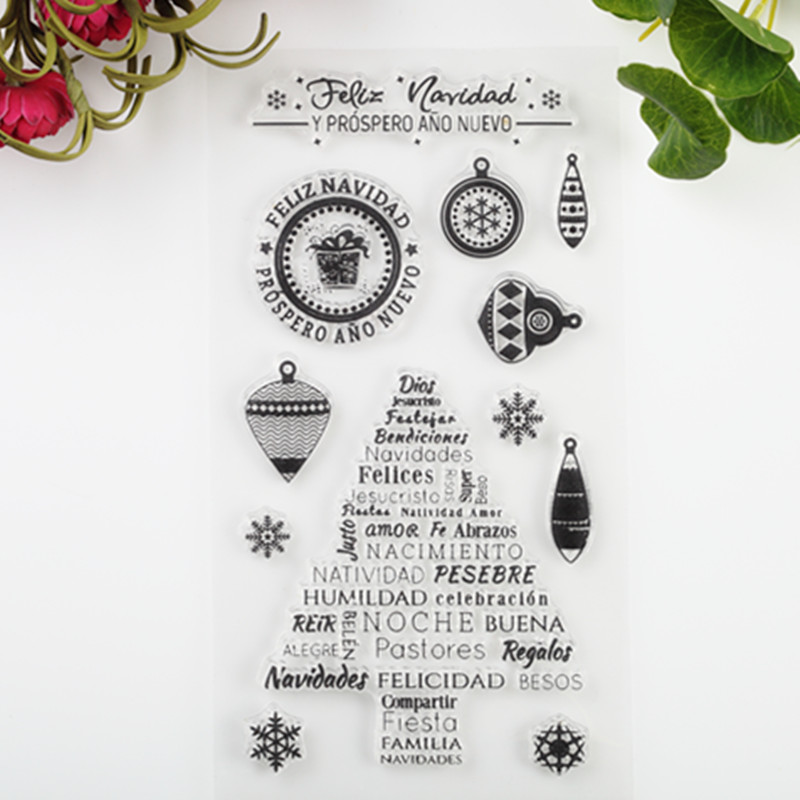 2017 New Scrapbook DIY Photo Album Cards Transparent Acrylic Silicone Rubber Clear Stamps Sheet  Christmas Tree scrapbook diy photo album account transparent silicone rubber clear stamps 20x28 5cm big size wedding