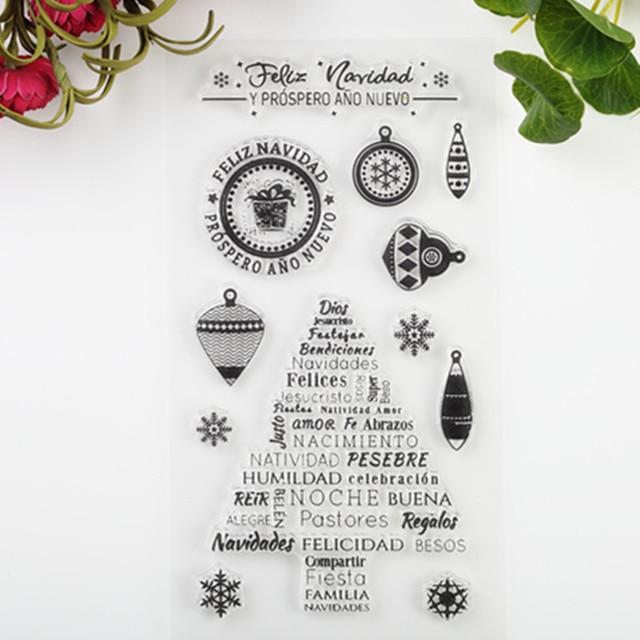 2017 Nuevo Álbum Álbum de Fotos de BRICOLAJE Tarjetas Sellos De Caucho De Silicona Transparente de Acrílico Transparente Hoja de Árbol De Navidad