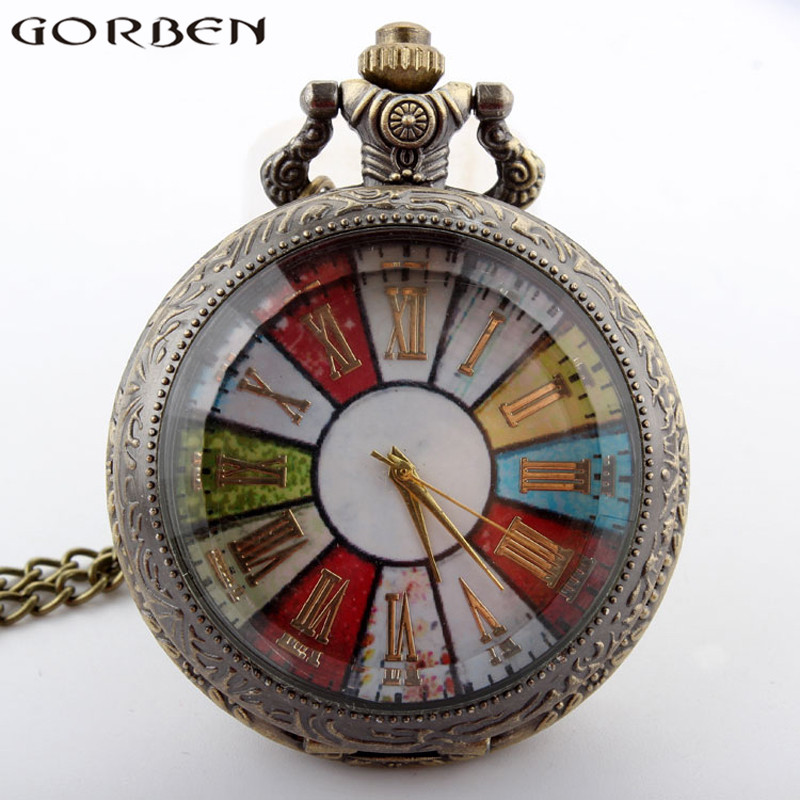 Gorben Watch Roman Number Colorful Dial Pocket Watch Turntable Pattern Vintage Pendant Necklace Retro Men Women Gift Long Chain
