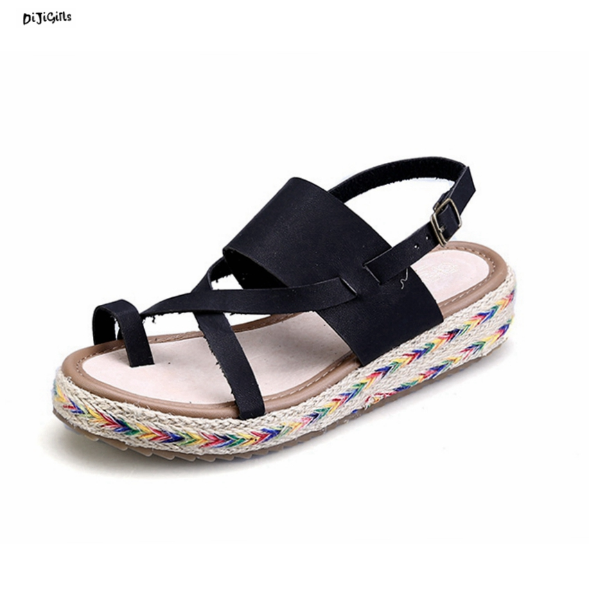 Women/'s Sandals Coarse Hemp Rope Strap Straw Plaited Platform Shoes Ankle Strap