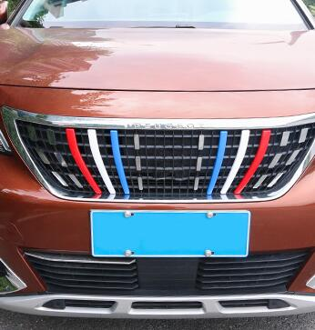 For <font><b>Peugeot</b></font> <font><b>3008</b></font> <font><b>2016</b></font> 2017 2018 2019 Colorful Front Center Grille Bumper Cover Trim Decoration Strips Sticker Car Styling image