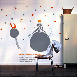 3D Cartoon Little Prince WIth Fox Moon Star Wall Stickers For Kids Rooms Living Room Home Decor Removable Art Mural Decorations