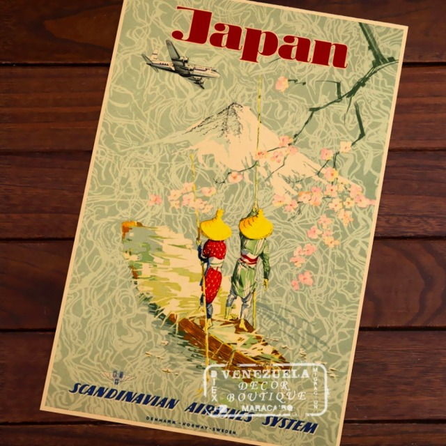 Japan travel SAS Scandinavian Airlines Vintage Retro Decorative Frame Poster DIY Wall Stickers Posters Home Bar Decor Gift