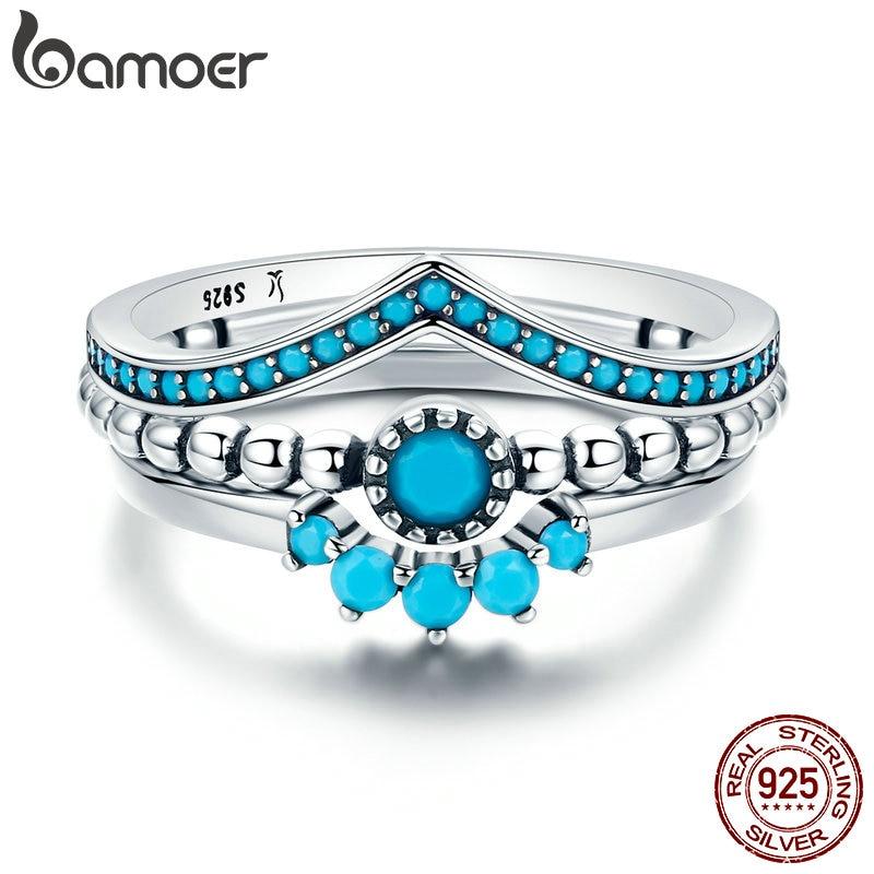 100% 925 כסף אמיתי BAMOER לנו ייחודי כמו שאתה גיאומטרי 3 Piece SCR368 תכשיטי אירוסין טבעת אצבע לנשים