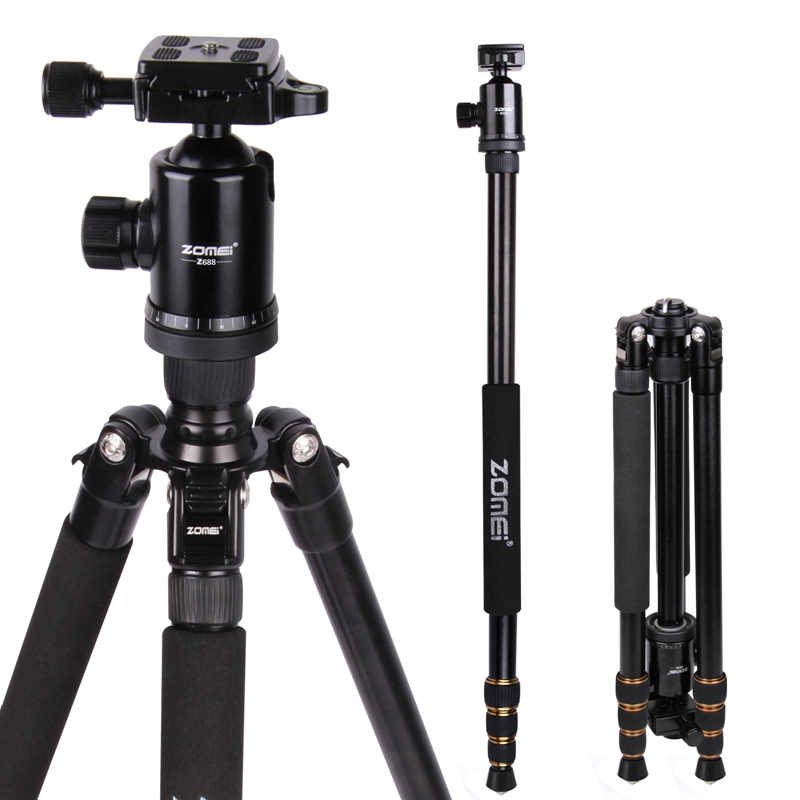 Zomei Z688  Professional Photographic Travel Compact Aluminum Heavy Stable Tripod Monopod Ball Head for Digital DSLR Camera aluminium alloy professional camera tripod flexible dslr video monopod for photography with head suitable for 65mm bowl size