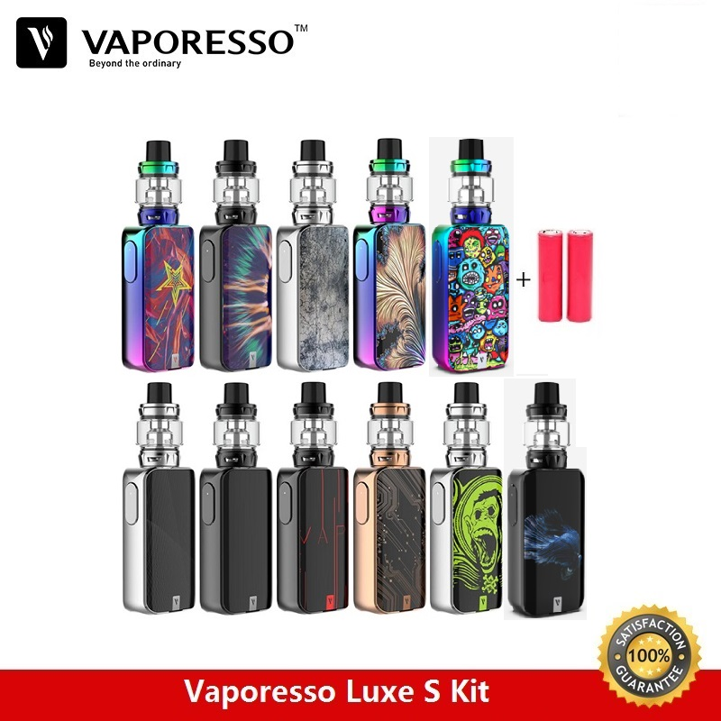 In Stock Vaporesso Luxe S 220W Kit 8ml Skrr-s Vape Tank Box Mod with Dual Batteries QF Meshed Coil QF Strip Vaporizer Kit