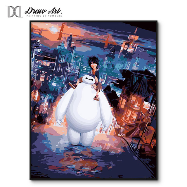Framed Big Hero 6 Painting by Numbers on Canvas Baymax Poster Paint by Number kits for Adults Home Decor Coloring by Numbers