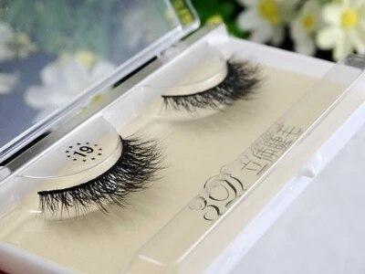 Wholesale Natural 3D 100% Real Mink False Eye Lashes/Mink Individual Eyelashes Extensions For Makeup Free shipping