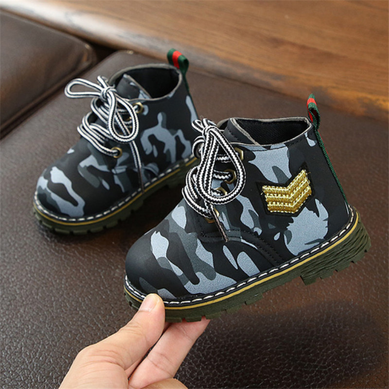 2019 Autumn Children Boots PU Leather Martin Boots Fashion Kids Baby Boots Brand Girls Boys Shoes Rubber Boots
