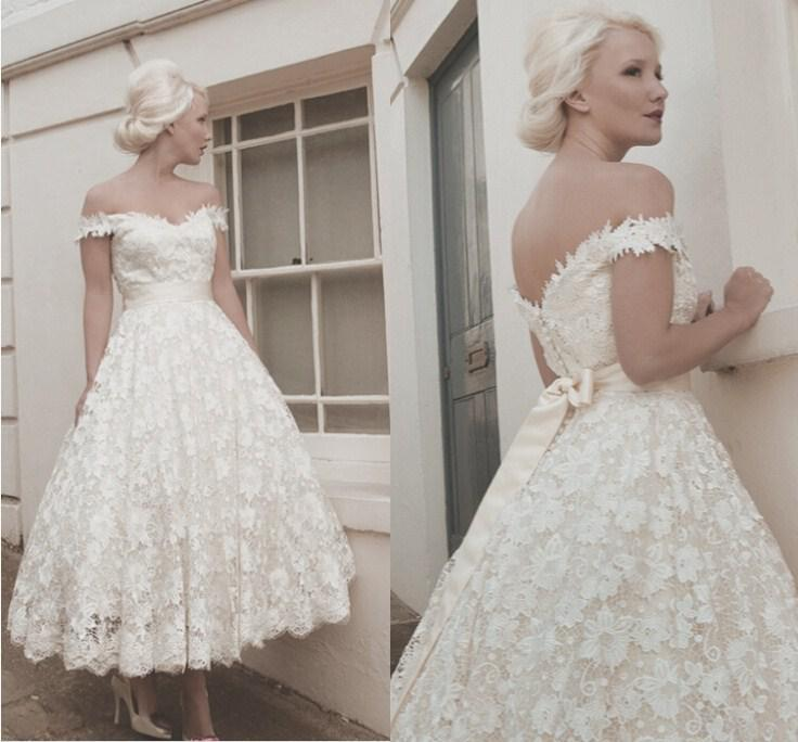 Wedding Dress White Vs Off White: A Line Off Shoulder White Lace Appliques Vintage Short