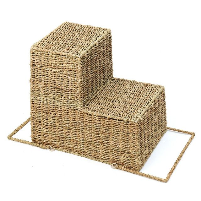 Delicieux Woven Wicker Stair Basket Organizer Seagrass Stylish Cosmetic Box With  Handle Zakka Container Storage Clothes Children Toys Home