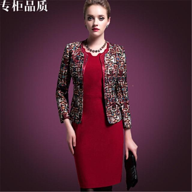 High Grade Fashion Women Dresses Coat Two Piece Dress Suit Middle