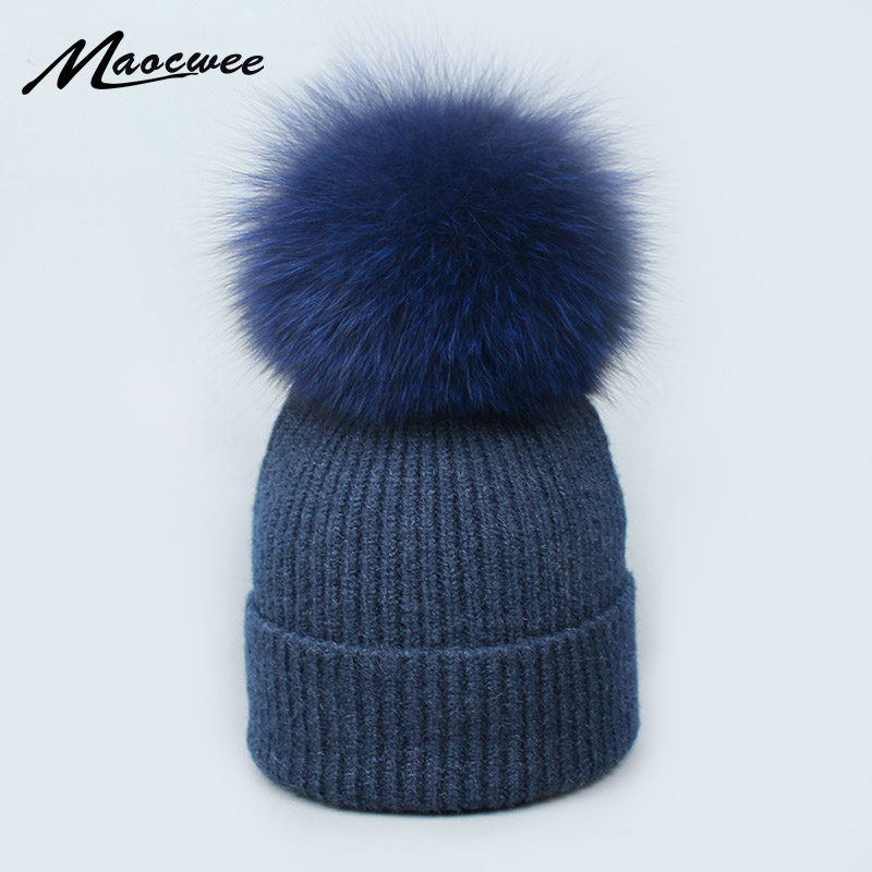 Real Fox Fur pom poms ball Skullies Beanies Keep Warm Winter Hat for Women Child Girl 's Wool Hat Knitted cap thick female cap