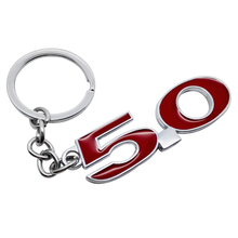 Car Styling Keychain Metal 5.0 Logo Key Ring Auto Red Black Key Ring Pendant Holder for Mustang V8 Range Rover Audi A6L Jaguar