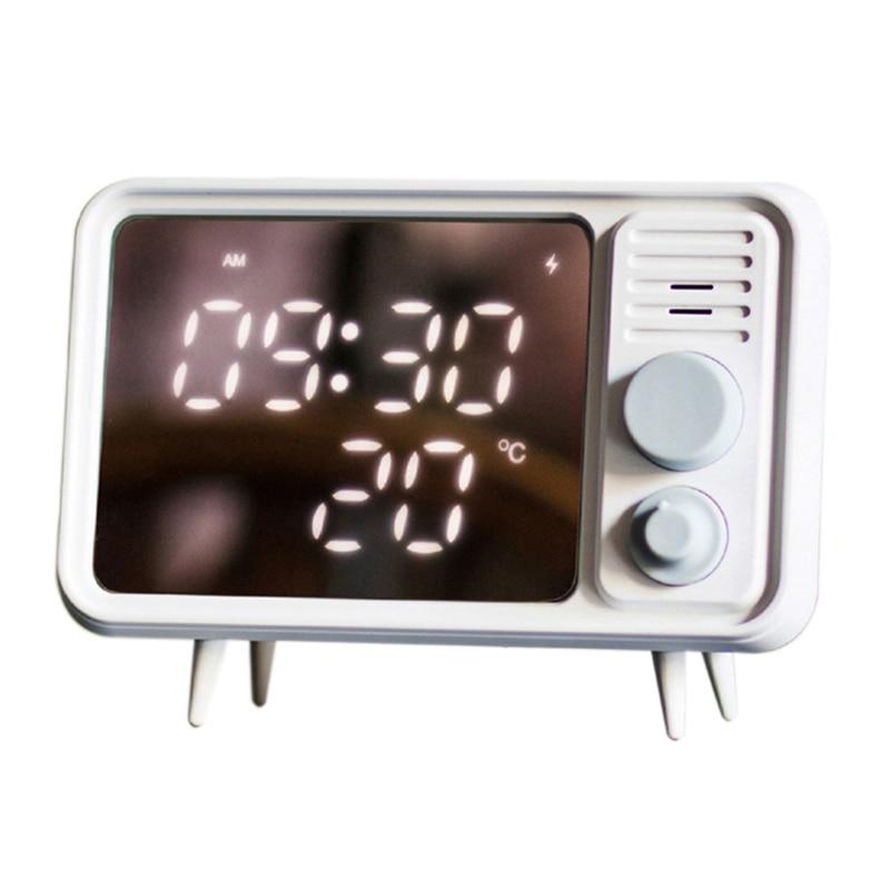 Hot Multi Function Retro Tv Shape Alarm Clock Lamp Mirror Multi Function Mirror Clock Thermometer Bed  Clock Grey Blue-in Alarm Clocks from Home & Garden