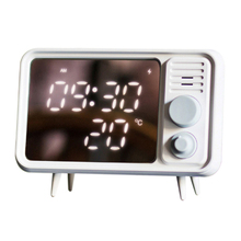 Hot Multi-Function Retro Tv Shape Alarm Clock Lamp Mirror Thermometer Bed  Clock-Grey Blue
