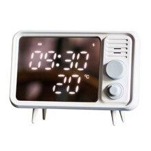 חם רב פונקצית רטרו טלוויזיה צורת שעון מעורר מנורת Multi פונקצית מראה מראה שעון מדחום מיטת שעון אפור כחול