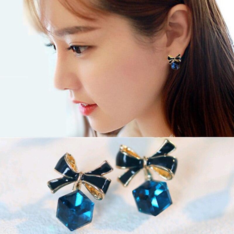 Stud-Earrings Crystal Square Rhinestone Blue Hot-Sale Women Fashion Geometry Birthday-Gift
