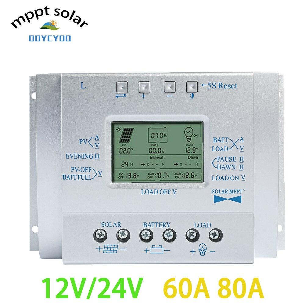 OOYCYOO MPPT 60A 12V 24V régulateur de panneau solaire LCD MPPT contrôleur de Charge minuterie et USB