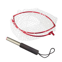 TOPIND 3PCS Folding Aluminium Alloy Hoop And Collapsible Fishing Handle Portable Fishing Net For Angling And