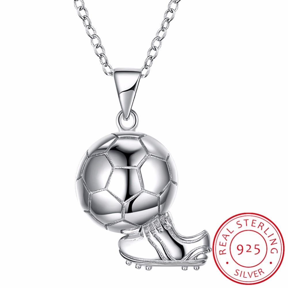 100% Wahr 2018 Fußball Spiel Fans 925 Sterling Silber Fußball Runde Ball Anhänger Halskette 45 Cm Kette Mann Frau Edlen Schmuck