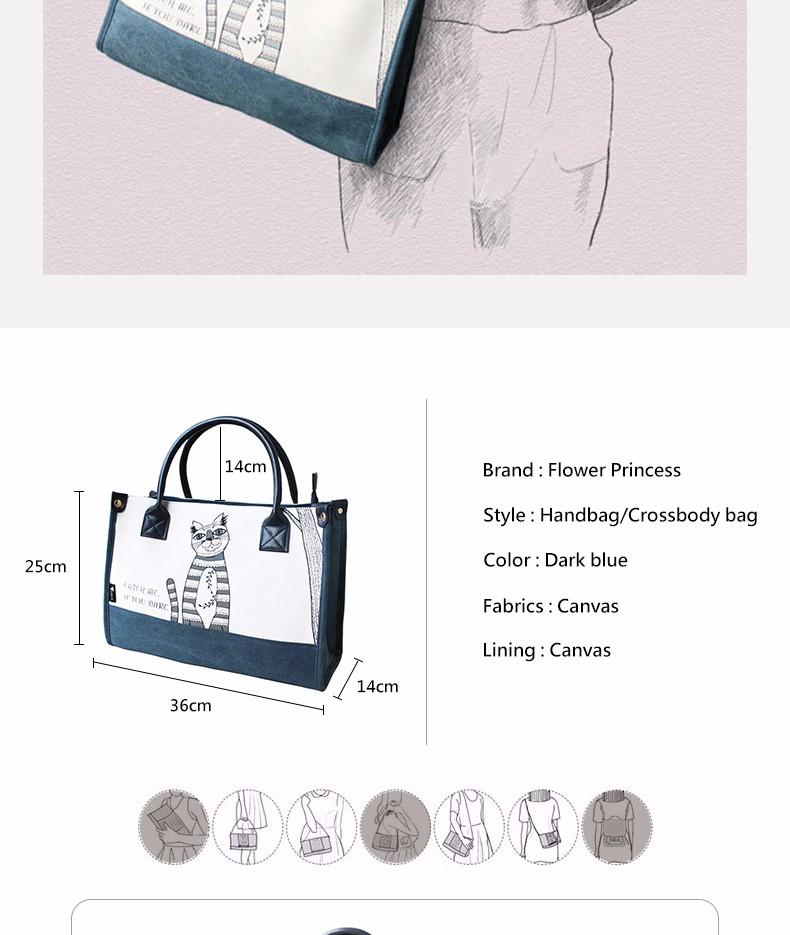 Flower Princess Canvas Cat Large Tote Bags Women Handbags Ladies Hand Bags Bolsa Feminina Bolsos Mujer Dames Tassen Borse Donna 3